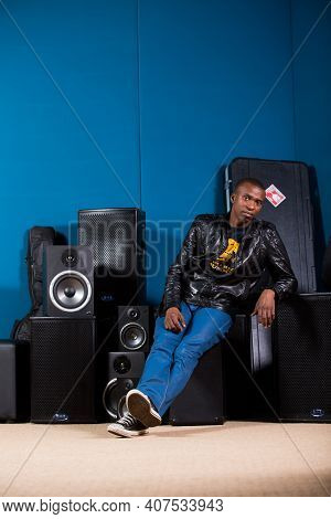 Black African, Executive Producer And Director David Mashabela In Recording Studio