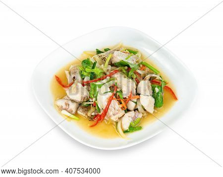 Fried Stir Celery With Seabass Fish Isolated On White Background ,include Clipping Path