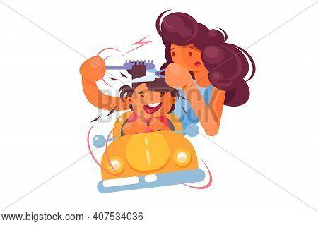 Child In Hair Salon Vector Illustration. Children