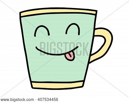 Cute Cup Of Coffee. Hand Drawn Lines Cartoon Characters. Cappuccino, Americano, Latte, Mocha. Concep