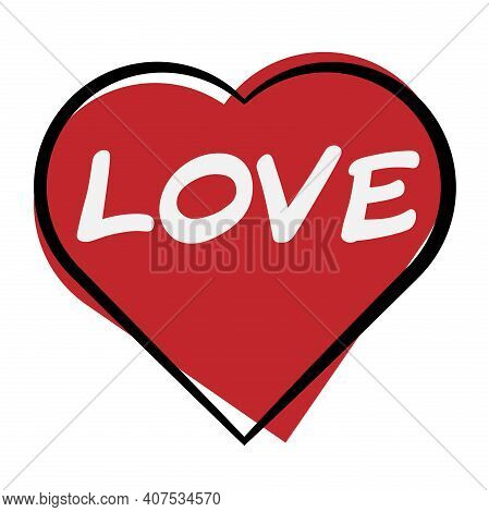 Heart Shape Icon With Wort Love Written Inside Vector Illustration