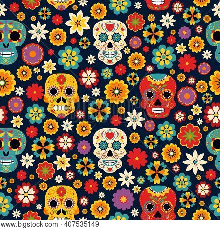 Dia De Los Muertos Seamless Vector Pattern. Mexican Day Of The Dead Mariachi And Catrina With Sombre