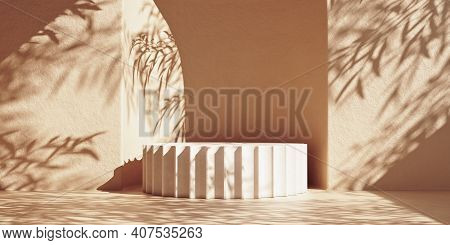 Mockup Column Stone Podium With Leaf Shadows On Rough Wall. 3d Rendering Illustration.