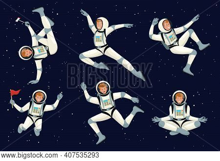 Cartoon Astronauts. Spaceman With Spaceship, Planet And Flag. Futuristic Clothing For Exploration Of