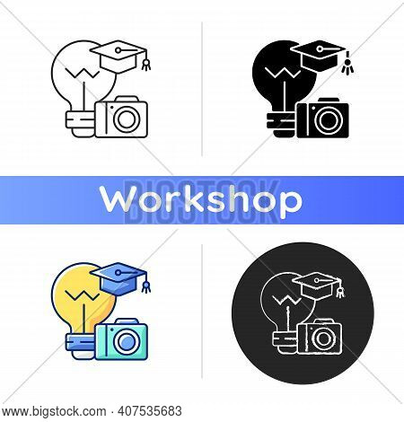 Photography Workshop Icon. Practical Lesson In Photography. Performing Skill Improvement Exercises.
