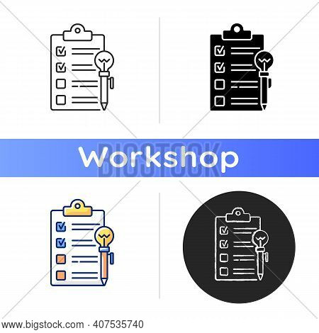 Agenda Worksheet Icon. Workshop Icon. Time Management Tool. Efficient Time Using. Training. Wasting