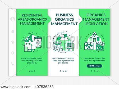 Biodegradable Waste Diversion Initiatives Onboarding Vector Template. Business Management. Legislati