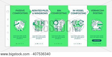 Decomposition Methods Onboarding Vector Template. Bin, In-vessel, Passive Composting. Vermicompostin