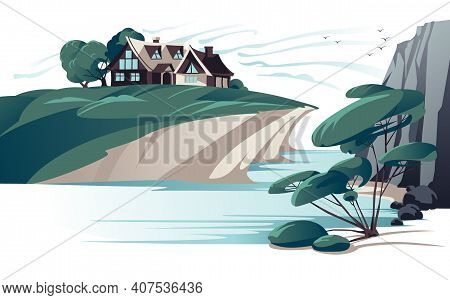 Secluded House On River Bank Flat Color Vector Illustration. Empty River Coast Rock And Alone Tree C