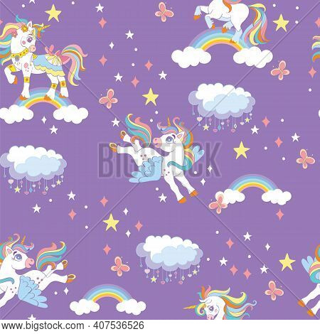 Cute Unicorns With Rainbow, Stars And Clouds In Purple Night Sky. Vector Seamless Pattern. Colorful
