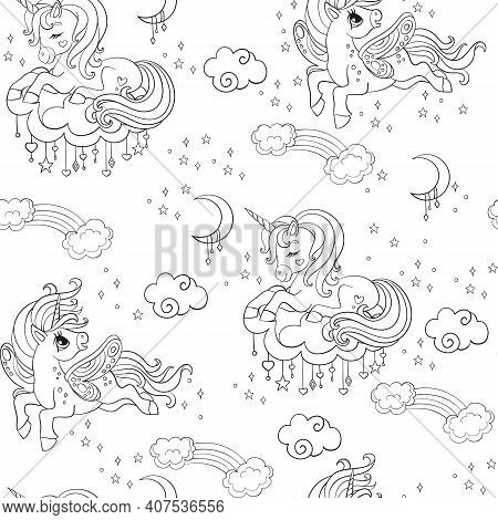 Cute Dreaming And Flying Unicorns With Rainbow And Clouds. Vector Seamless Pattern In White Colors.