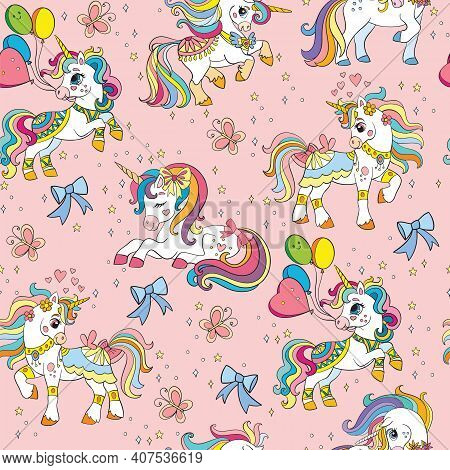 Cute Party Unicorns With Bows, Balloons And Stars. Vector Seamless Pattern On Pink Background. Illus