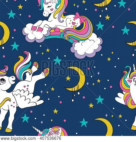 Cute Dreaming And Flying Unicorns With Rainbow And Clouds. Vector Seamless Pattern. Colorful Illustr