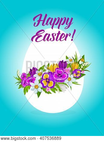 Easter Holiday Egg With Flower Wreath Vector Design. Easter Egg With Floral Garland Of Spring Grass
