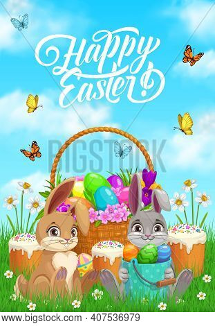 Happy Easter Rabbits With Eggs, Paschal Cakes And Flowers In Wicker Basket. Happy Easter Christian H