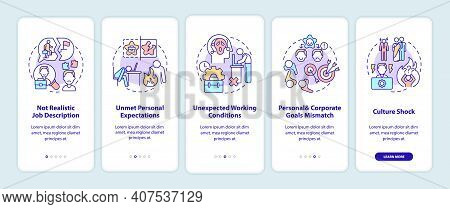 New Worker Emotional Burden Factors Onboarding Mobile App Page Screen With Concepts. Fatigue. Work H