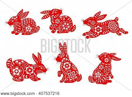 Chinese Lunar New Year Rabbit Isolated Icons With Vector Animals Of Asian Zodiac. Red Papercut Rabbi