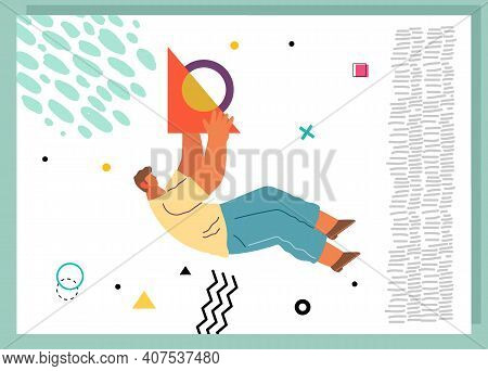 A Man Flying In Abstract Imaginary Space Organizing Geometric Shapes. Person In A Pose Of Movement C