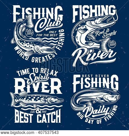 River Fishing Catch T-shirt Print Template With Northern Pike Jumping Out From Water And Catching Bi