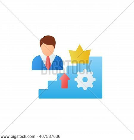 Self Esteem Building Flat Icon. Personal Assessment. Personal Growth Concept. Self Improvement And S