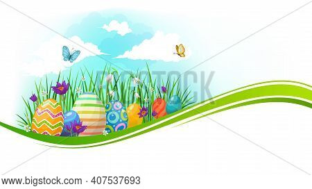 Easter Eggs With Green Wave Of Grass And Spring Flowers Vector Banner. Easter Religious Holiday Pain