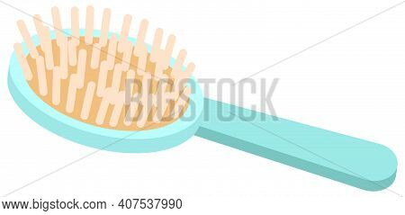Hair Brush With Many Bristles Vector Illustration. Blue Comb Isolated On White Background. Item For