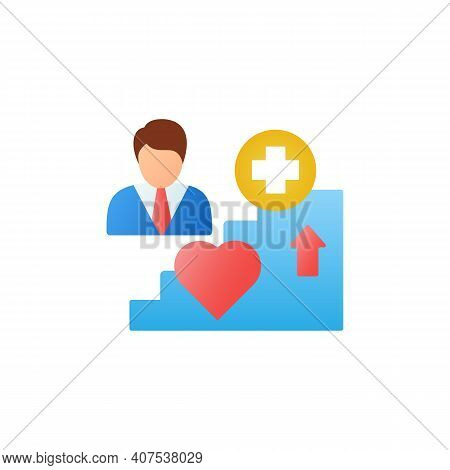 Improving Health Flat Icon. Personal Growth Concept. Health Improvement And Protection. Self Care. 3