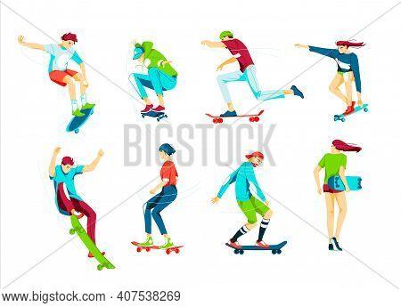 Bundle Of Teenage Boys And Girls Or Skateboarders Riding Skateboard. Young Men, Women Skateboarding.