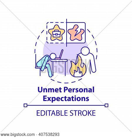 Unmet Personal Expectations Concept Icon. New Worker Emotional Burden Factors. Depression Idea Thin