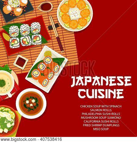 Japanese Cuisine Vector California Or Philadelphia Sushi And Salmon Rolls, Fried Shrimp Dumplings, M