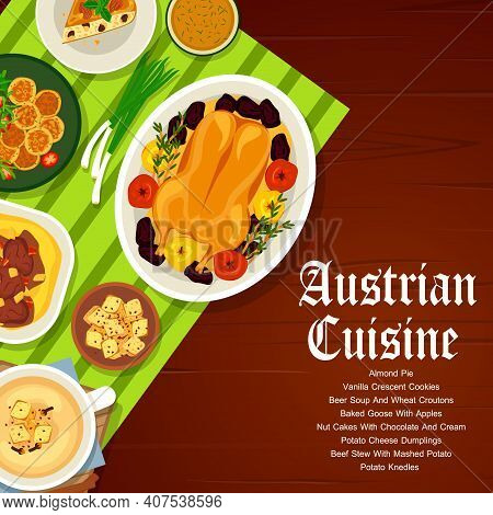 Austrian Cuisine Restaurant Meat And Vegetable Meals Menu Cover. Baked Goose With Apples, Beef Stew