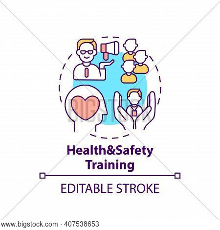Health And Safety Training Concept Icon. Employee Adaptation Program Elements. Do Sports Activities