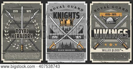 Weapons Of Knights And Vikings Vector Design With Medieval Swords, Sabres And Spears. Royal Crown, A