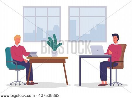 Office Workers. Colleagues Communicating. Executive Guy Talking With Man Sitting At Table Using Digi