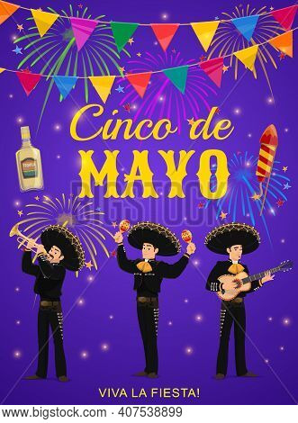 Cinco De Mayo Vector Flyer With Mariachi Band. Mexican Musicians In Sombrero And National Costumes P