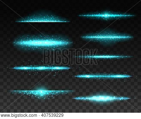 Light Flare Lines, Magical Sparkles Set. Glowing Lines With Illuminating Particles, Blue Rays Or Fan