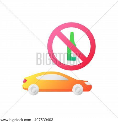 Drunk Driving Vector Flat Color Icon. Traffic Safety Regulation, Responsible Drinking. Restriction F