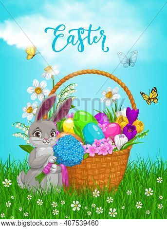 Easter Basket With Flowers, Vector Painted Eggs And Bunny Holding Bouquet On Green Lawn With Butterf