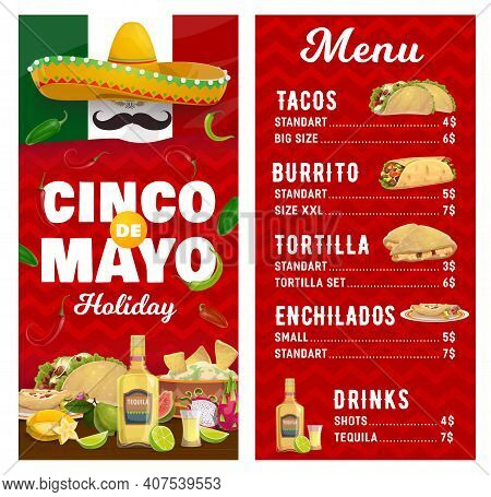 Mexican Holiday Vector Menu, Cinco De Mayo Holidays Meals Tacos, Burroto, Tortilla And Enchilados Wi