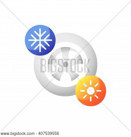 Seasonal Tyres Vector Flat Color Icon. Safe Driving Rule, Auto Maintenance. Changing Wheels. Automob