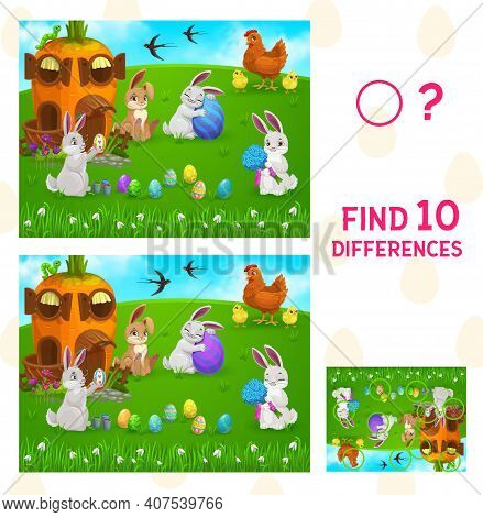 Find Differences Kids Game With Vector Easter Egg Hunt. Children Education Puzzle Or Spot 10 Differe