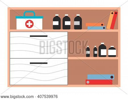 Interior Equipment Of A Clinical Office Wooden Cupboard With Shelves With Books And Medicines. Piece