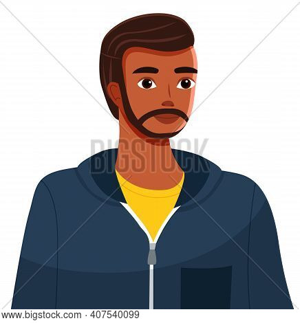 Handsome Black Or Ethnic Bearded Guy Or Young Athletic Man Avatar. Pretty Dark Skinned Student Dress
