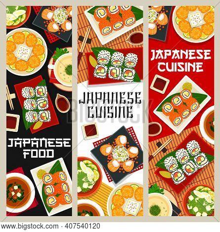 Japanese Cuisine Vector Miso Soup, Fried Shrimp Dumplings And Mushroom Soup Sumono. Chicken Soup Wit