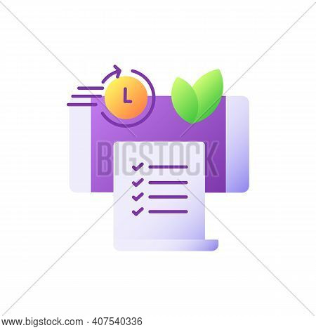 Paperless Statements Vector Flat Color Icon. Electronic Bill. Online Document On Smartphone Screen.
