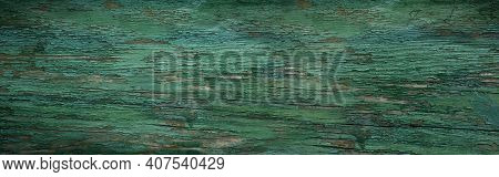 Old Weathered Green Wood Surface. Wooden Textur Background For Decorations In Country Style. Top Vie
