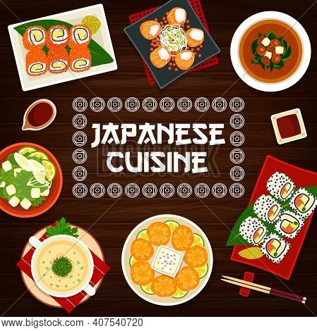 Japanese Cuisine Vector Poster Fried Shrimp Dumplings, Chicken Soup With Spinach Or Mushroom Soup Su