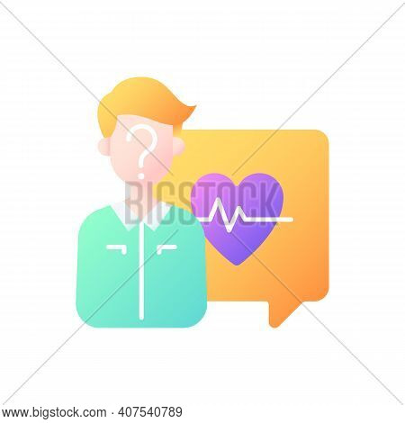 Anonymous Question Vector Flat Color Icon. Health Questions. Chatting With Doctor Online. One-on-one