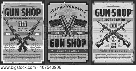 Gun And Ammunition Shop Retro Poster. Weapon For Self-defense, Ammo For Shooting Range Training Vint