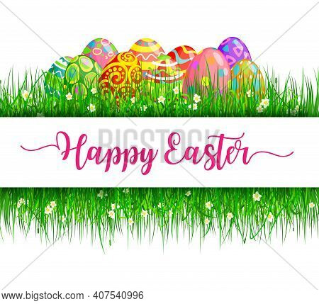 Easter Eggs With Green Grass Frame, Vector Religion Holiday. Spring Grass Blades With Painted Eggs,